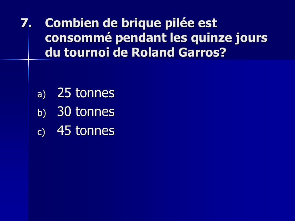 7.Combien de brique pilée est consommé pendant les quinze jours du tournoi de Roland Garros.