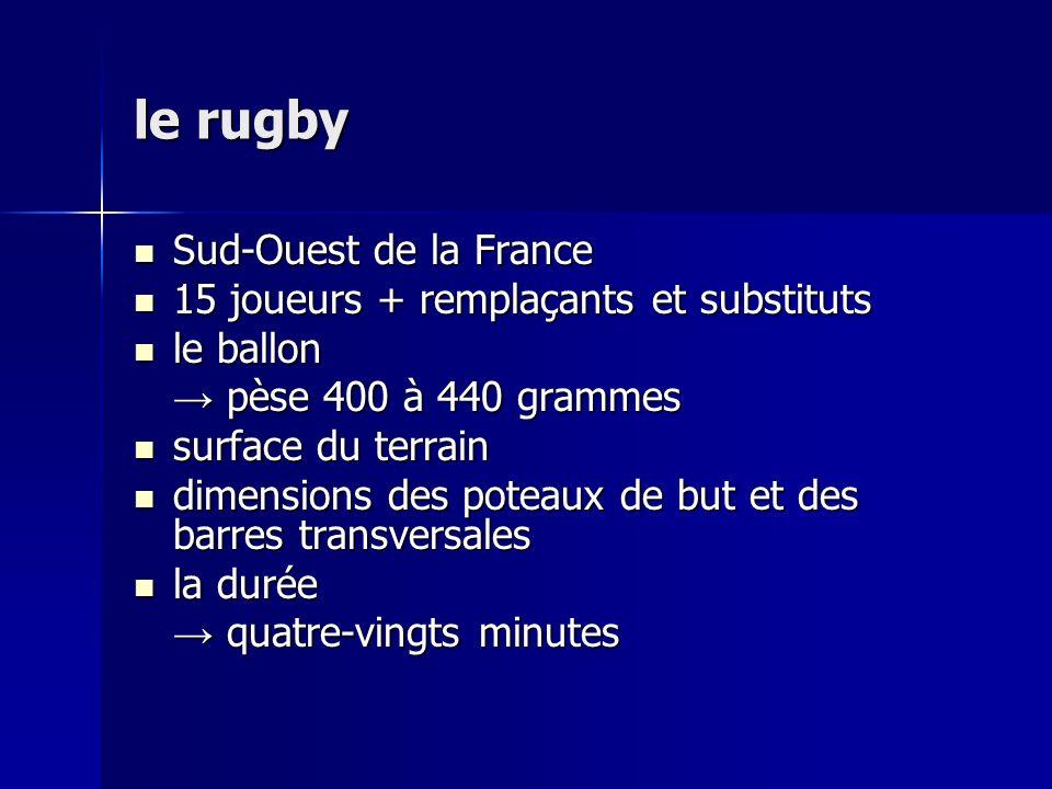 le rugby Sud-Ouest de la France Sud-Ouest de la France 15 joueurs + remplaçants et substituts 15 joueurs + remplaçants et substituts le ballon le ballon pèse 400 à 440 grammes pèse 400 à 440 grammes surface du terrain surface du terrain dimensions des poteaux de but et des barres transversales dimensions des poteaux de but et des barres transversales la durée la durée quatre-vingts minutes quatre-vingts minutes