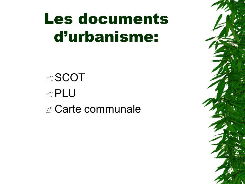 Les documents durbanisme: SCOT PLU Carte communale