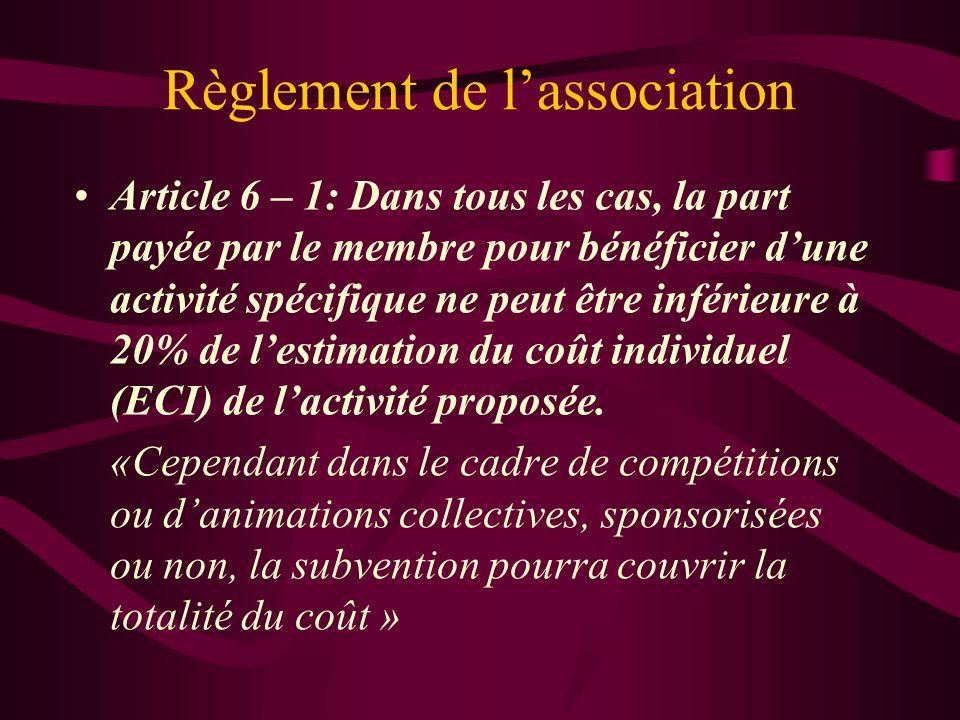 Règlement de lassociation Article 6 – 1: Dans tous les cas, la part payée par le membre pour bénéficier dune activité spécifique ne peut être inférieure à 20% de lestimation du coût individuel (ECI) de lactivité proposée.