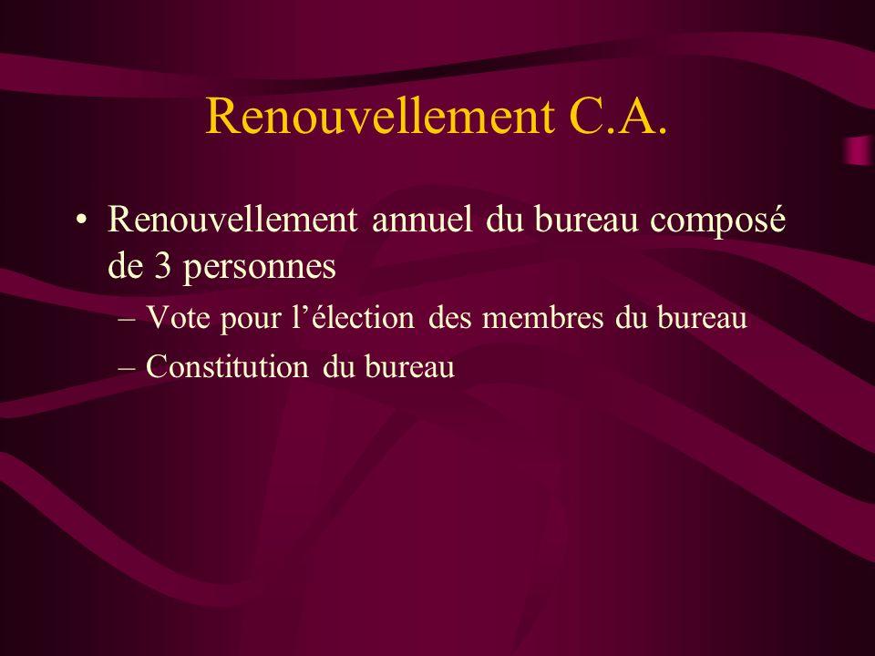 Renouvellement C.A.