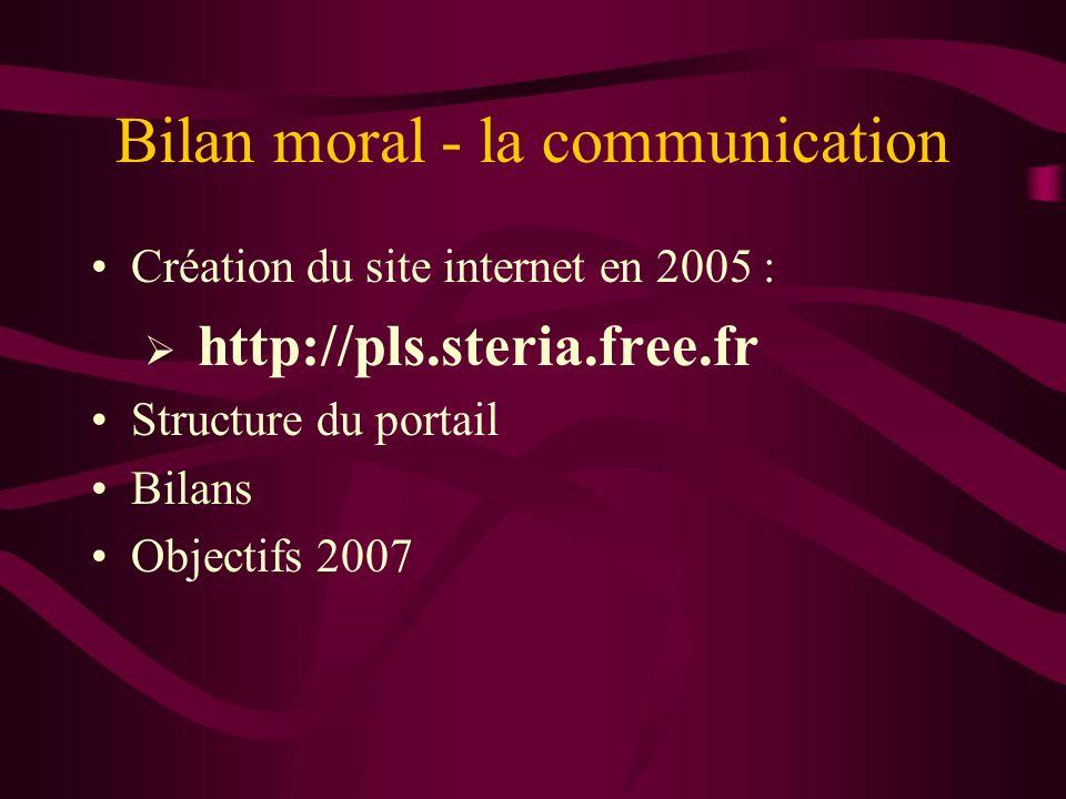 Bilan moral - la communication Création du site internet en 2005 : http://pls.steria.free.fr Structure du portail Bilans Objectifs 2007