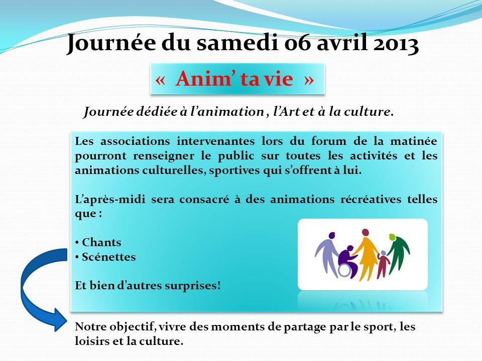 Journée du samedi 06 avril 2013 « Anim ta vie » Journée dédiée à lanimation, lArt et à la culture. Les associations intervenantes lors du forum de la