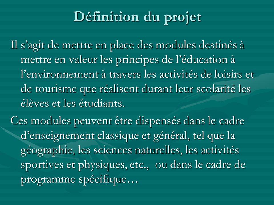 Définition du projet Il sagit de mettre en place des modules destinés à mettre en valeur les principes de léducation à lenvironnement à travers les activités de loisirs et de tourisme que réalisent durant leur scolarité les élèves et les étudiants.