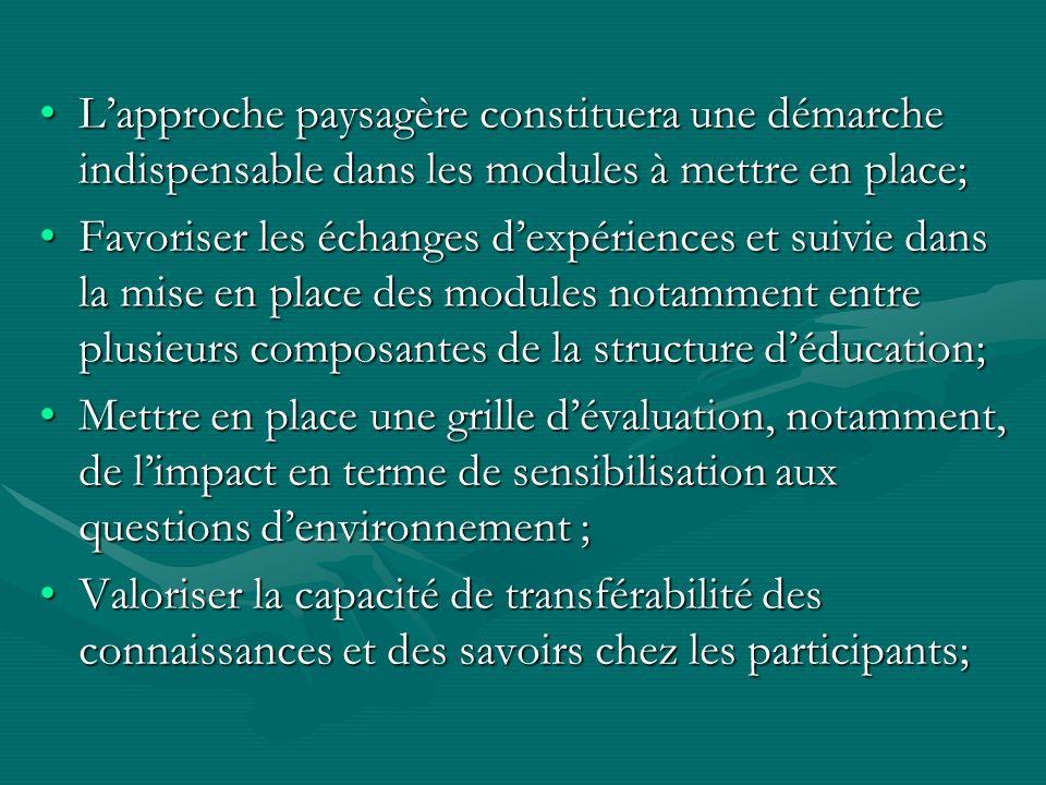 Lapproche paysagère constituera une démarche indispensable dans les modules à mettre en place;Lapproche paysagère constituera une démarche indispensable dans les modules à mettre en place; Favoriser les échanges dexpériences et suivie dans la mise en place des modules notamment entre plusieurs composantes de la structure déducation;Favoriser les échanges dexpériences et suivie dans la mise en place des modules notamment entre plusieurs composantes de la structure déducation; Mettre en place une grille dévaluation, notamment, de limpact en terme de sensibilisation aux questions denvironnement ;Mettre en place une grille dévaluation, notamment, de limpact en terme de sensibilisation aux questions denvironnement ; Valoriser la capacité de transférabilité des connaissances et des savoirs chez les participants;Valoriser la capacité de transférabilité des connaissances et des savoirs chez les participants;
