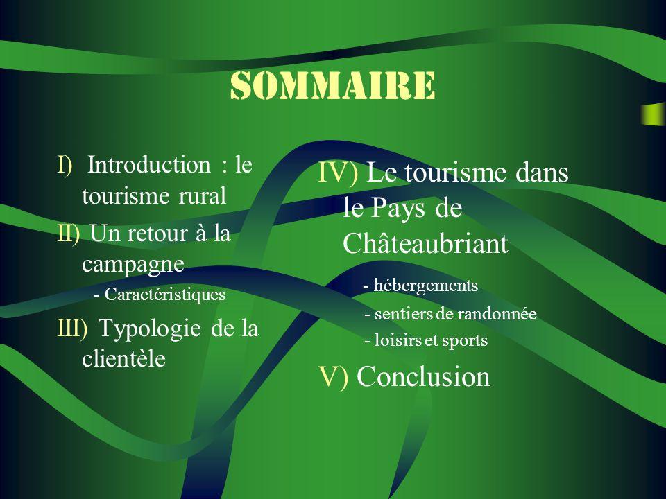 SOMMAIRE I) Introduction : le tourisme rural II) Un retour à la campagne - Caractéristiques III) Typologie de la clientèle IV) Le tourisme dans le Pay