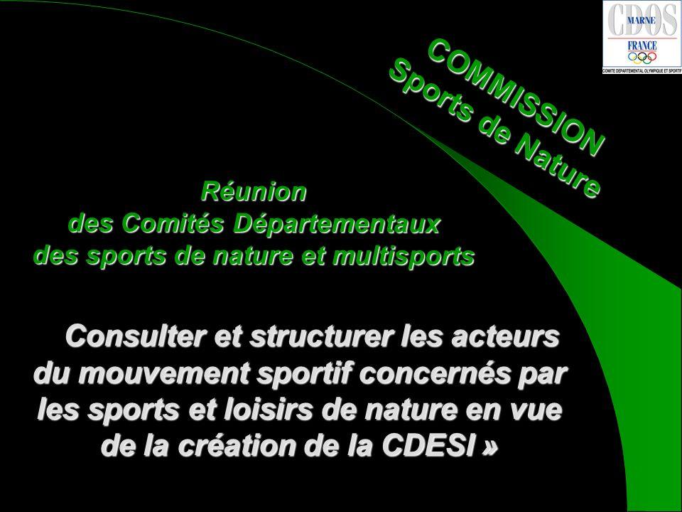 COMMISSION Sports de Nature Consulter et structurer les acteurs du mouvement sportif concernés par les sports et loisirs de nature en vue de la création de la CDESI » « Consulter et structurer les acteurs du mouvement sportif concernés par les sports et loisirs de nature en vue de la création de la CDESI » Réunion des Comités Départementaux des sports de nature et multisports