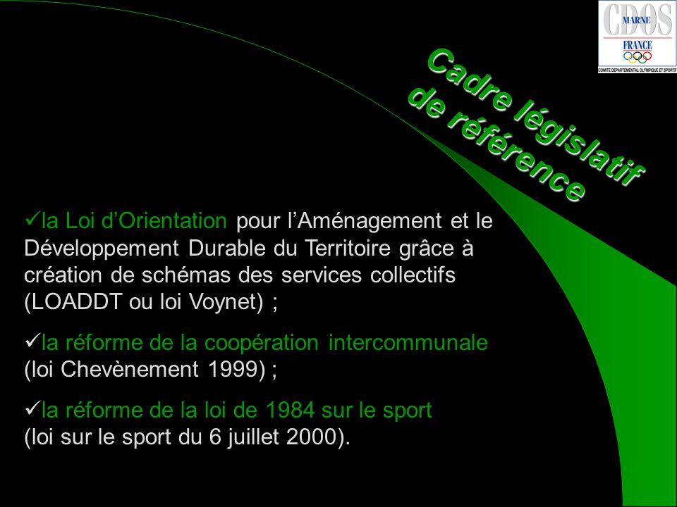 la Loi dOrientation pour lAménagement et le Développement Durable du Territoire grâce à création de schémas des services collectifs (LOADDT ou loi Voynet) ; la réforme de la coopération intercommunale (loi Chevènement 1999) ; la réforme de la loi de 1984 sur le sport (loi sur le sport du 6 juillet 2000).