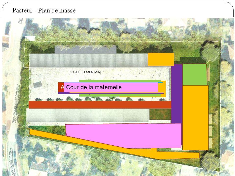 Pasteur – Plan de masse Salle de classe maternelle Salle polyvalente Espaces communs Centre de loisirs Auvent remplaçant le préau Accès piétons pompie
