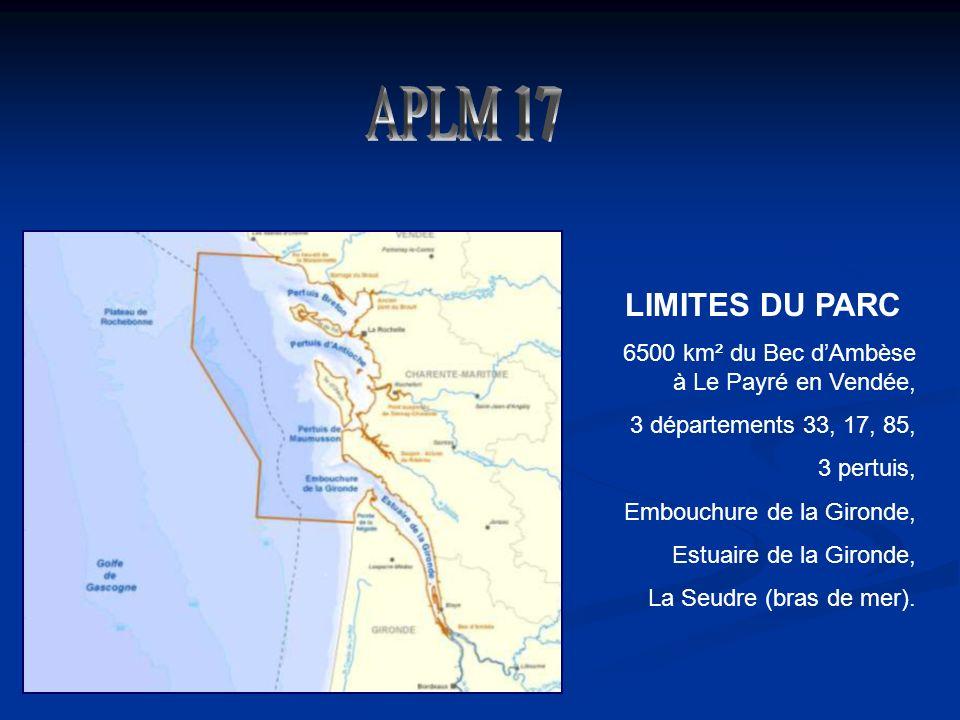 LIMITES DU PARC 6500 km² du Bec dAmbèse à Le Payré en Vendée, 3 départements 33, 17, 85, 3 pertuis, Embouchure de la Gironde, Estuaire de la Gironde, La Seudre (bras de mer).