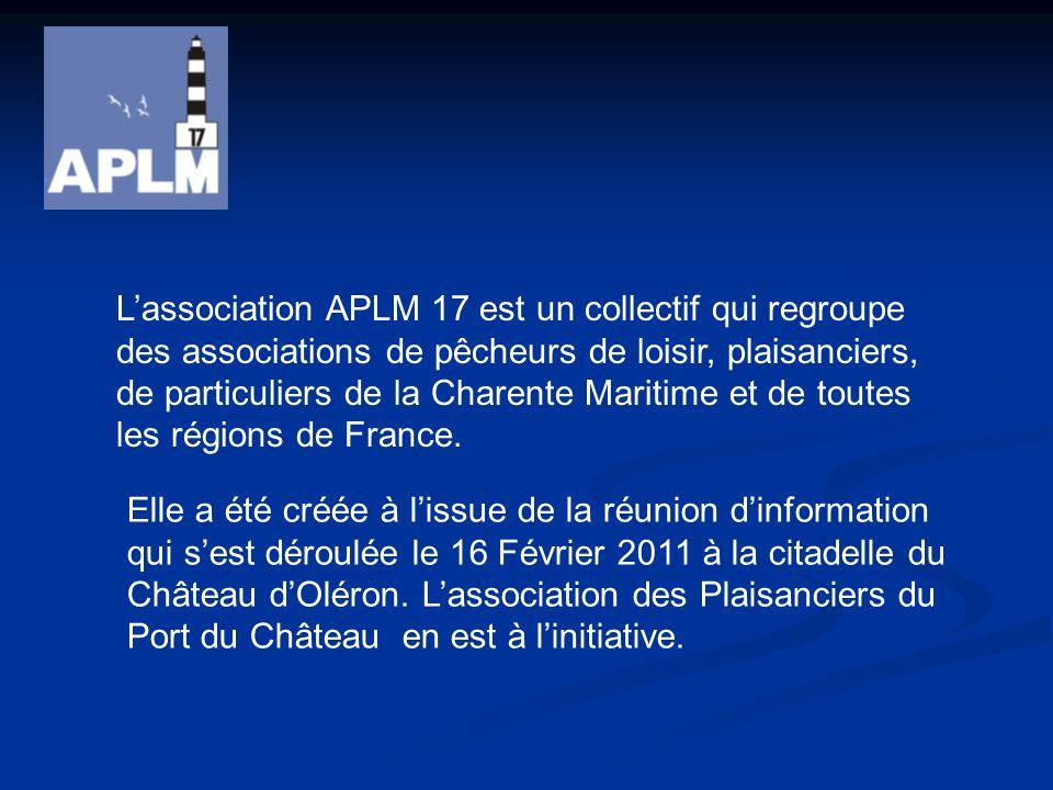 Lassociation APLM 17 est un collectif qui regroupe des associations de pêcheurs de loisir, plaisanciers, de particuliers de la Charente Maritime et de toutes les régions de France.