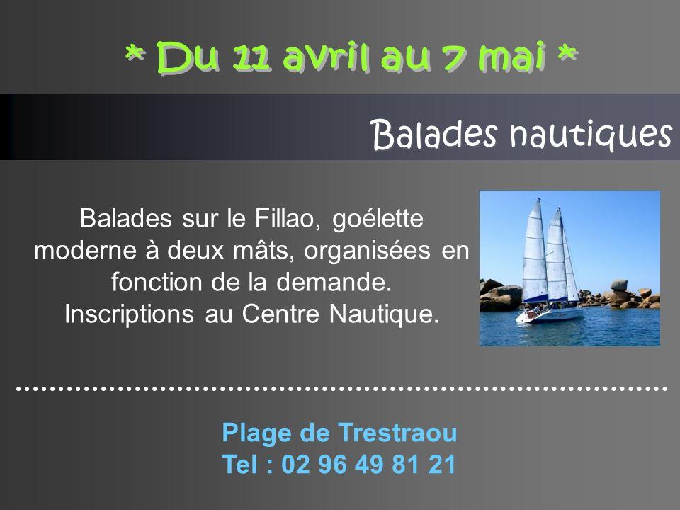 Balades nautiques Balades sur le Fillao, goélette moderne à deux mâts, organisées en fonction de la demande.