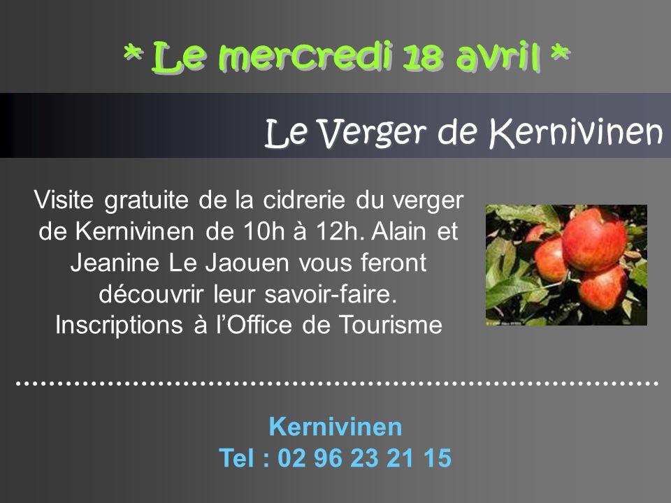 Le Verger de Kernivinen Visite gratuite de la cidrerie du verger de Kernivinen de 10h à 12h.