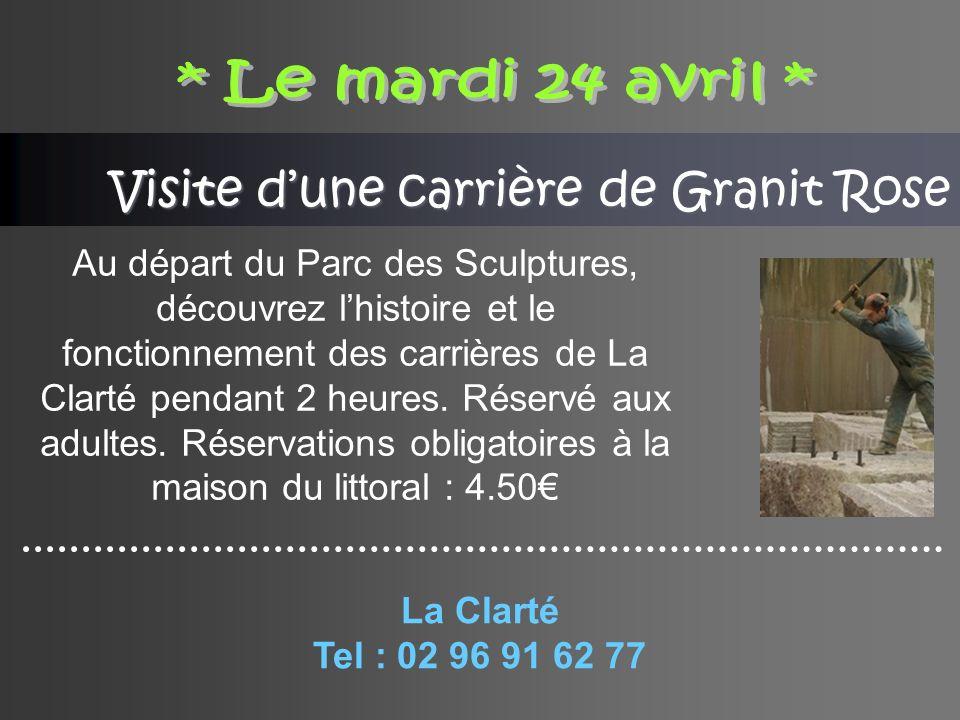Visite dune carrière de Granit Rose Au départ du Parc des Sculptures, découvrez lhistoire et le fonctionnement des carrières de La Clarté pendant 2 heures.