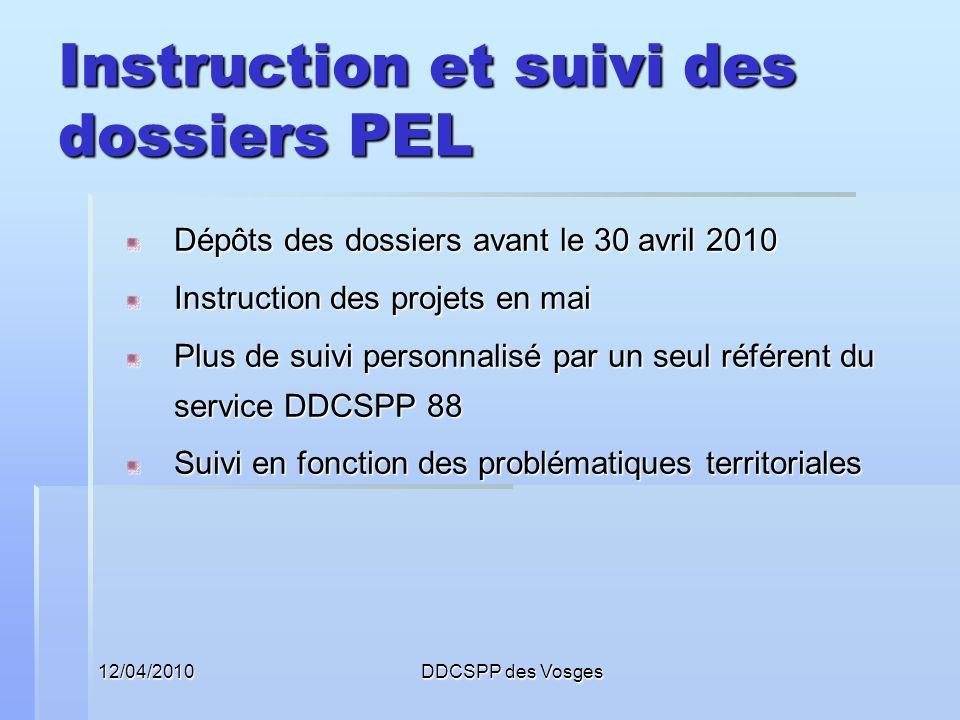12/04/2010DDCSPP des Vosges Instruction et suivi des dossiers PEL Dépôts des dossiers avant le 30 avril 2010 Instruction des projets en mai Plus de su