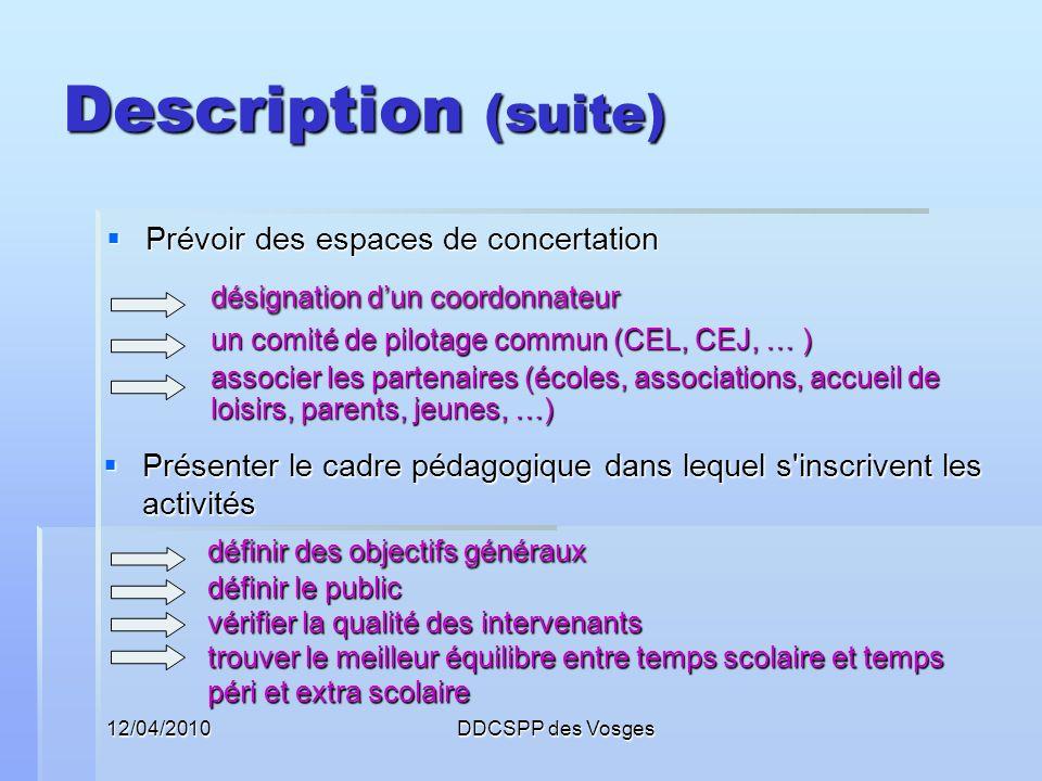12/04/2010DDCSPP des Vosges Description (suite) Proposer des modes de suivi, de régulation et d évaluation Proposer des modes de suivi, de régulation et d évaluation suivre sur place des activités mettre en place des indicateurs pour évaluer adapter, faire évoluer les projets danimation