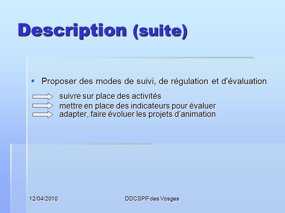 12/04/2010DDCSPP des Vosges Description (suite) Proposer des modes de suivi, de régulation et d'évaluation Proposer des modes de suivi, de régulation