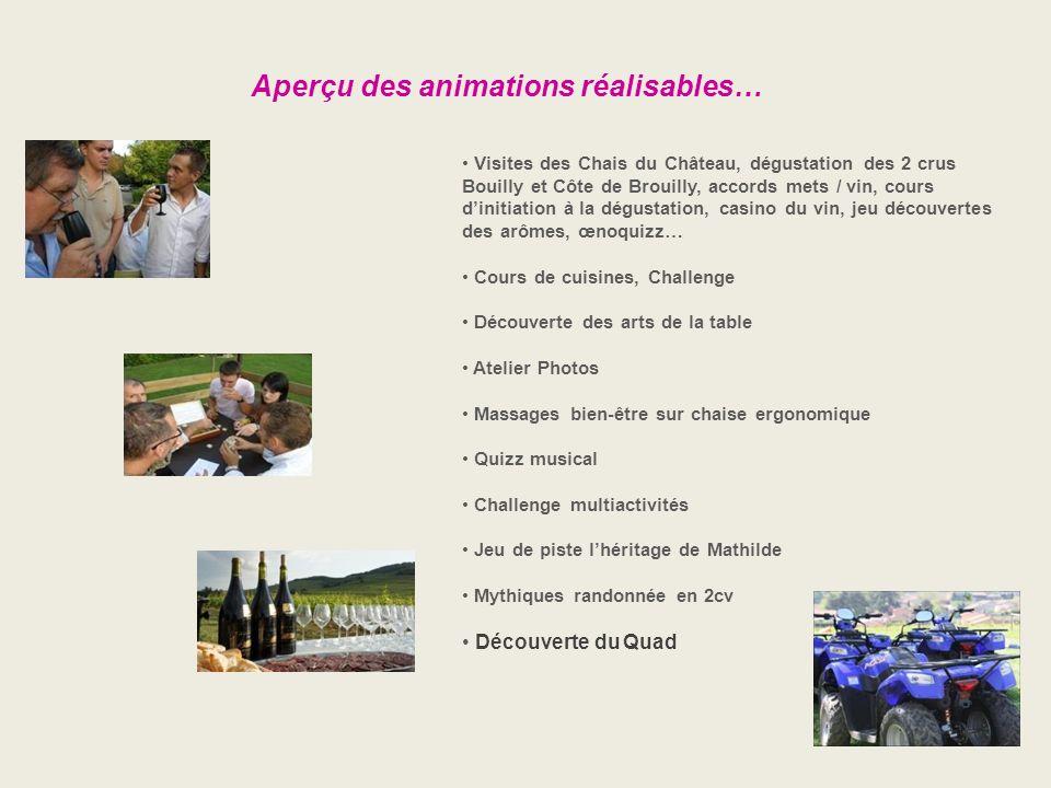 Aperçu des animations réalisables… Visites des Chais du Château, dégustation des 2 crus Bouilly et Côte de Brouilly, accords mets / vin, cours dinitia