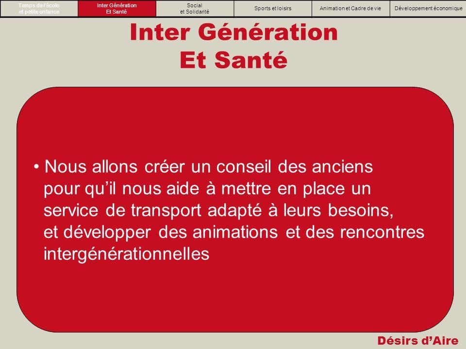 Désirs dAire Inter Génération Et Santé Nous allons créer un conseil des anciens pour quil nous aide à mettre en place un service de transport adapté à