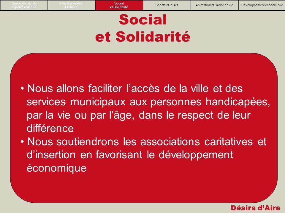 Désirs dAire Social et Solidarité Nous allons faciliter laccès de la ville et des services municipaux aux personnes handicapées, par la vie ou par lâg