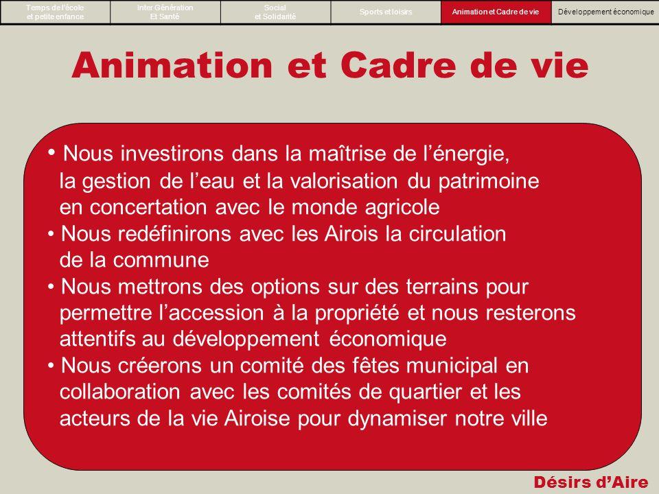 Désirs dAire Animation et Cadre de vie Nous investirons dans la maîtrise de lénergie, la gestion de leau et la valorisation du patrimoine en concertat