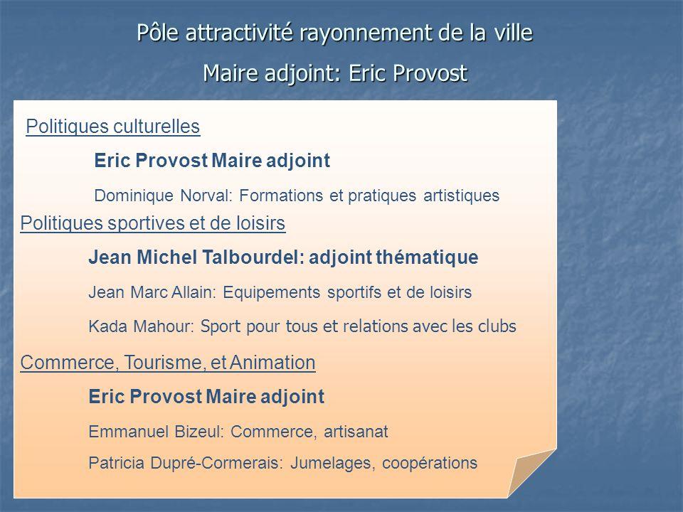 Pôle attractivité rayonnement de la ville Maire adjoint: Eric Provost Politiques sportives et de loisirs Jean Michel Talbourdel: adjoint thématique Je
