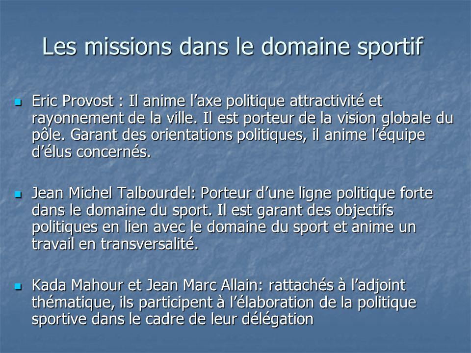 Les missions dans le domaine sportif Eric Provost : Il anime laxe politique attractivité et rayonnement de la ville. Il est porteur de la vision globa