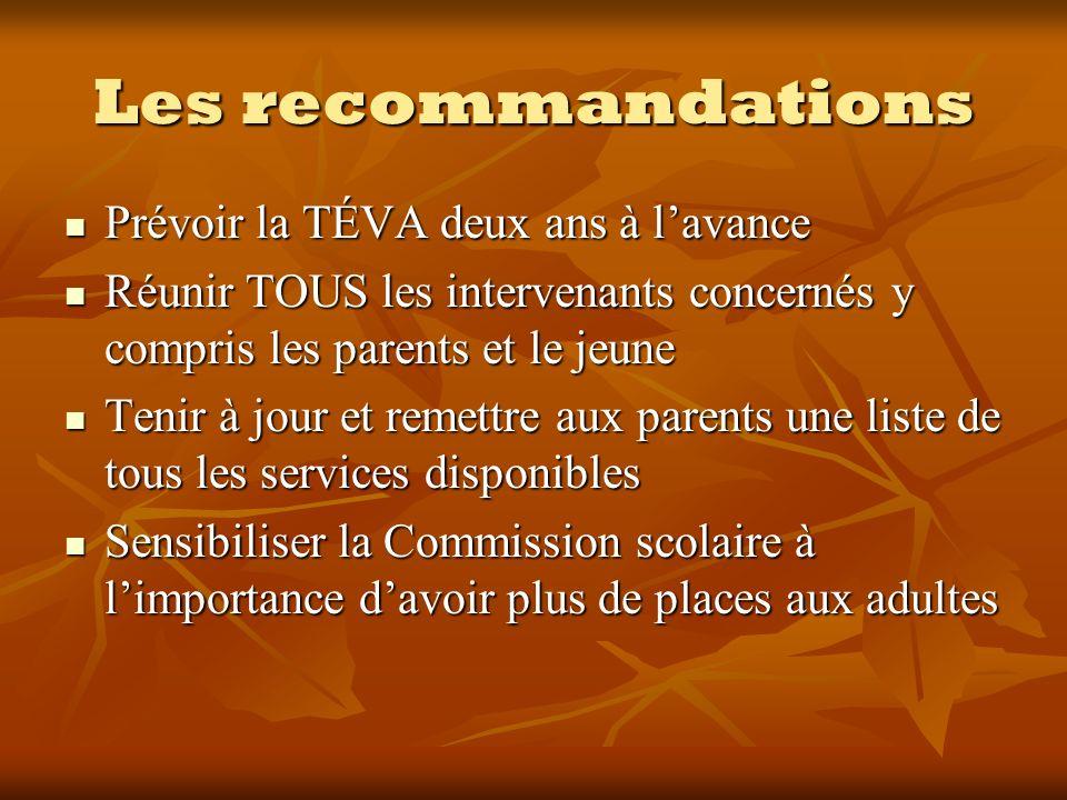 Les recommandations Prévoir la TÉVA deux ans à lavance Prévoir la TÉVA deux ans à lavance Réunir TOUS les intervenants concernés y compris les parents