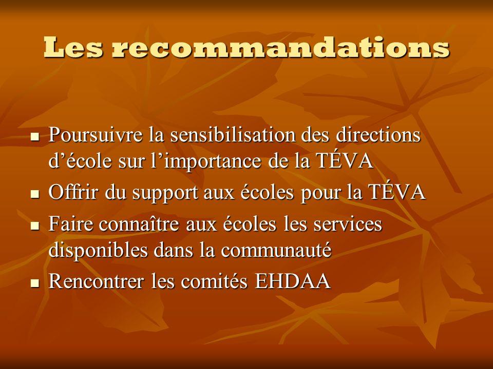 Les recommandations Poursuivre la sensibilisation des directions décole sur limportance de la TÉVA Poursuivre la sensibilisation des directions décole