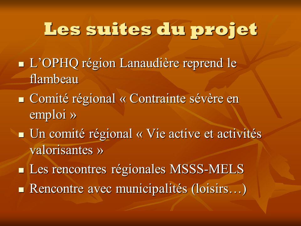 Les suites du projet LOPHQ région Lanaudière reprend le flambeau LOPHQ région Lanaudière reprend le flambeau Comité régional « Contrainte sévère en em