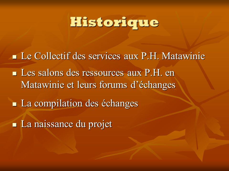 Historique Le Collectif des services aux P.H. Matawinie Le Collectif des services aux P.H. Matawinie Les salons des ressources aux P.H. en Matawinie e
