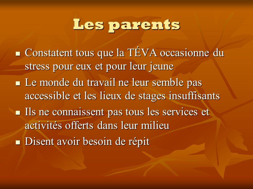 Les parents Constatent tous que la TÉVA occasionne du stress pour eux et pour leur jeune Constatent tous que la TÉVA occasionne du stress pour eux et