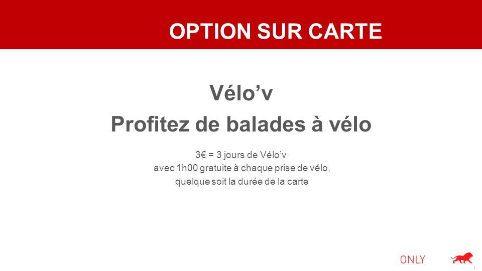 OPTION SUR CARTE Vélov Profitez de balades à vélo 3 = 3 jours de Vélov avec 1h00 gratuite à chaque prise de vélo, quelque soit la durée de la carte