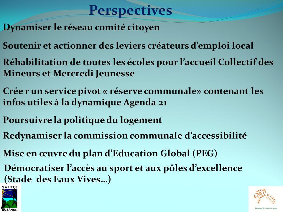 Perspectives Dynamiser le réseau comité citoyen Crée r un service pivot « réserve communale» contenant les infos utiles à la dynamique Agenda 21 Mise