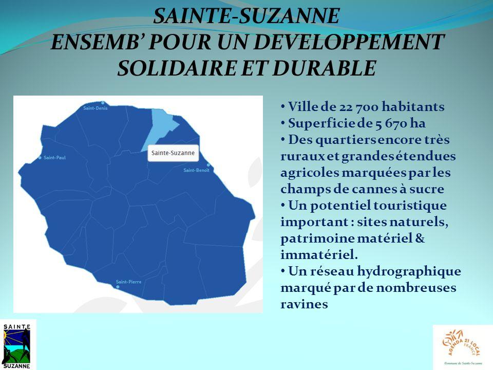 SAINTE-SUZANNE ENSEMB POUR UN DEVELOPPEMENT SOLIDAIRE ET DURABLE Ville de 22 700 habitants Superficie de 5 670 ha Des quartiers encore très ruraux et