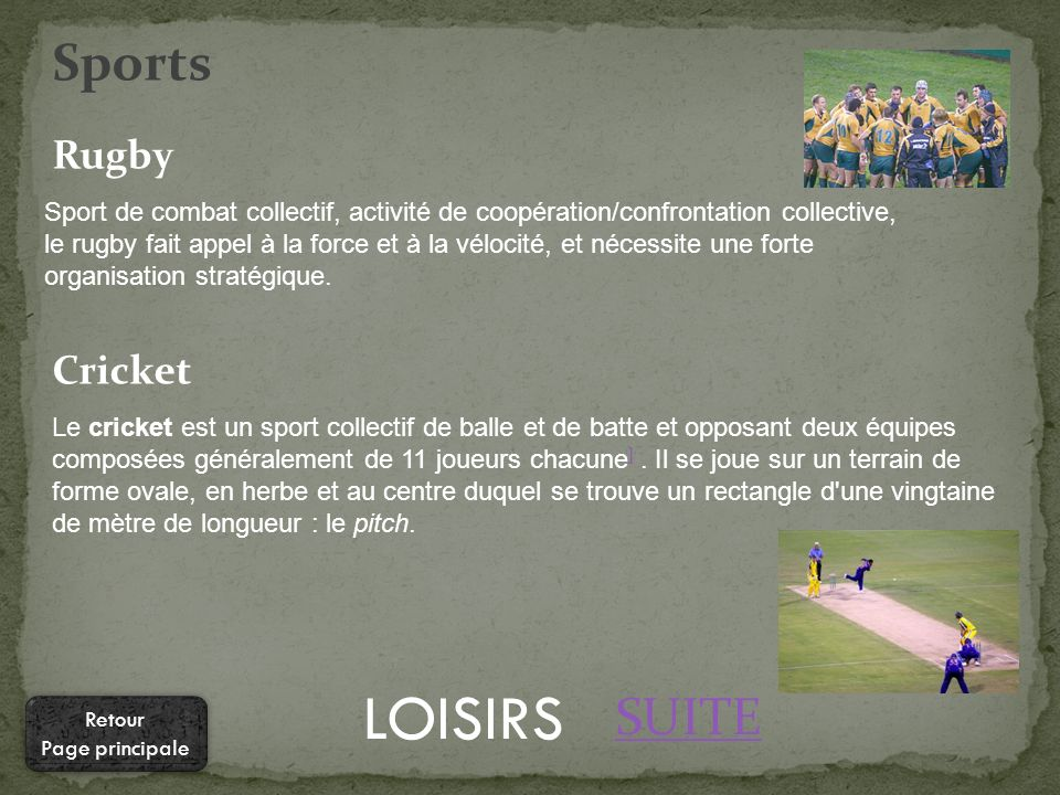 LOISIRS Sport de combat collectif, activité de coopération/confrontation collective, le rugby fait appel à la force et à la vélocité, et nécessite une forte organisation stratégique.