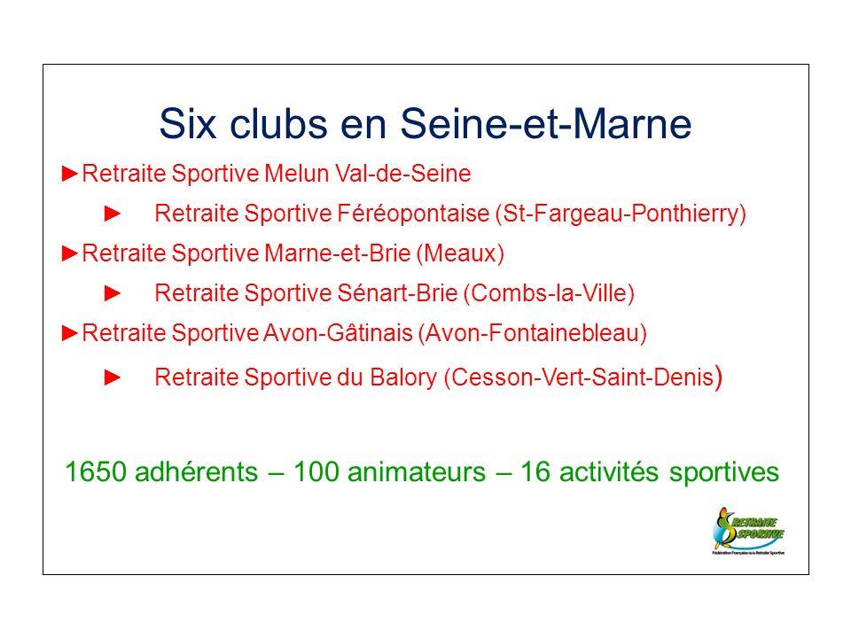 Six clubs en Seine-et-Marne Retraite Sportive Melun Val-de-Seine Retraite Sportive Féréopontaise (St-Fargeau-Ponthierry) Retraite Sportive Marne-et-Brie (Meaux) Retraite Sportive Sénart-Brie (Combs-la-Ville) Retraite Sportive Avon-Gâtinais (Avon-Fontainebleau) Retraite Sportive du Balory (Cesson-Vert-Saint-Denis ) 1650 adhérents – 100 animateurs – 16 activités sportives