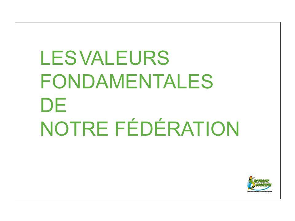LES VALEURS FONDAMENTALES DE NOTRE FÉDÉRATION