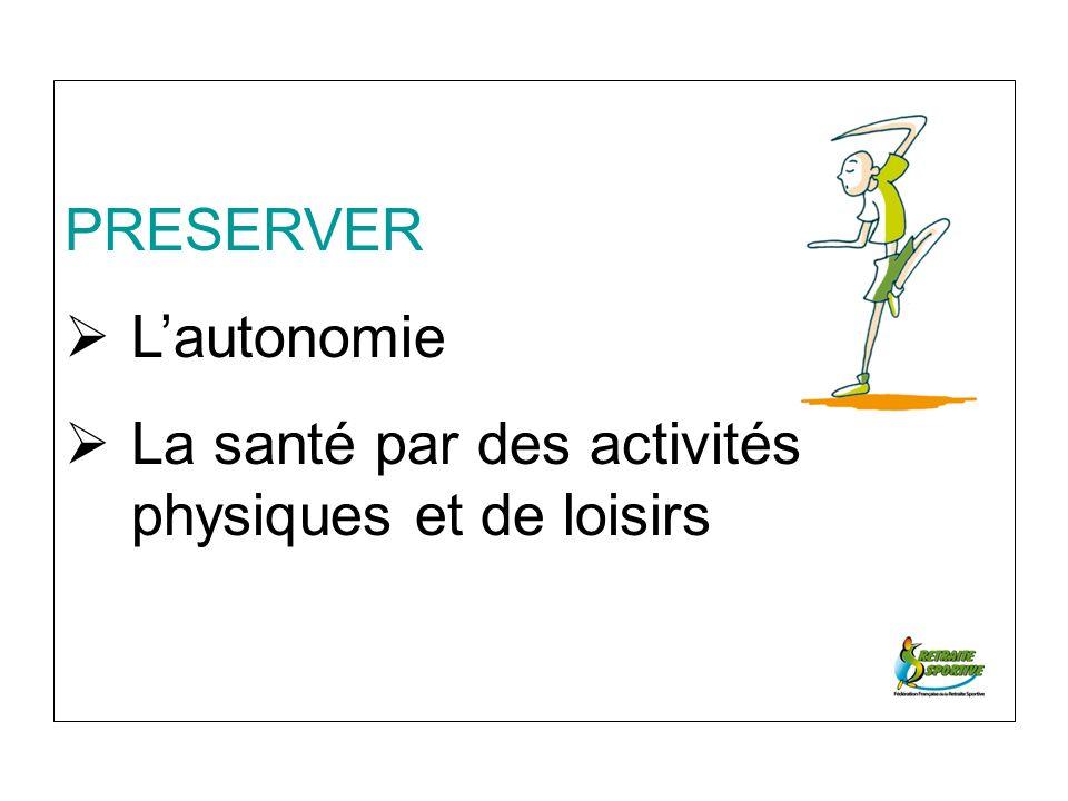 PRESERVER Lautonomie La santé par des activités physiques et de loisirs
