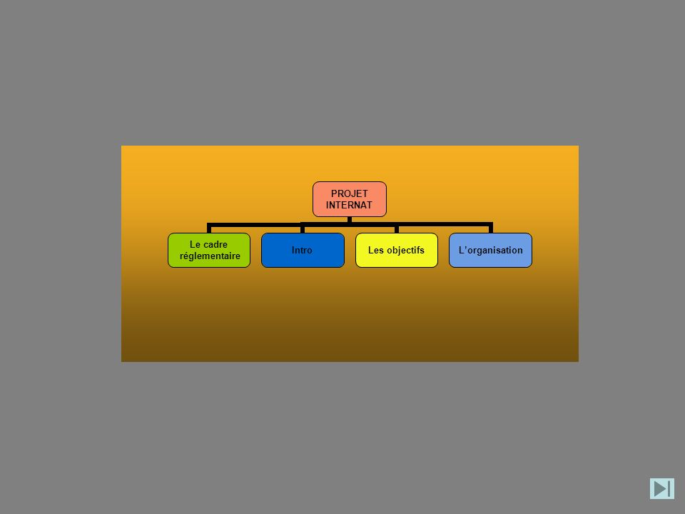 PROJET INTERNAT Le cadre réglementaire IntroLes objectifsLorganisation