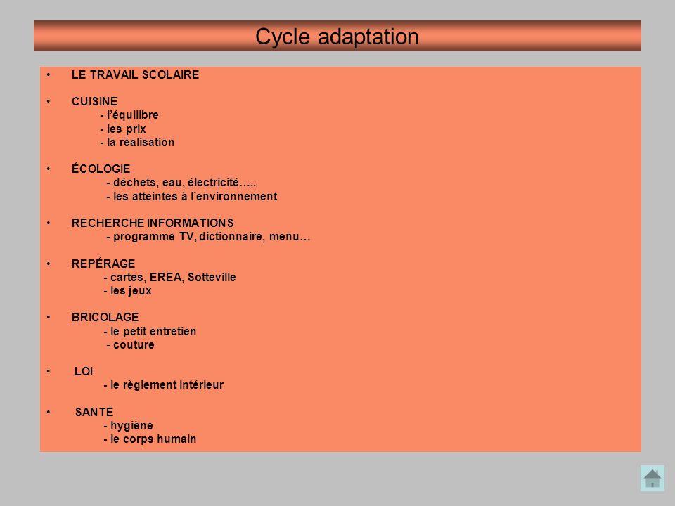 Cycle adaptation LE TRAVAIL SCOLAIRE CUISINE - léquilibre - les prix - la réalisation ÉCOLOGIE - déchets, eau, électricité….. - les atteintes à lenvir