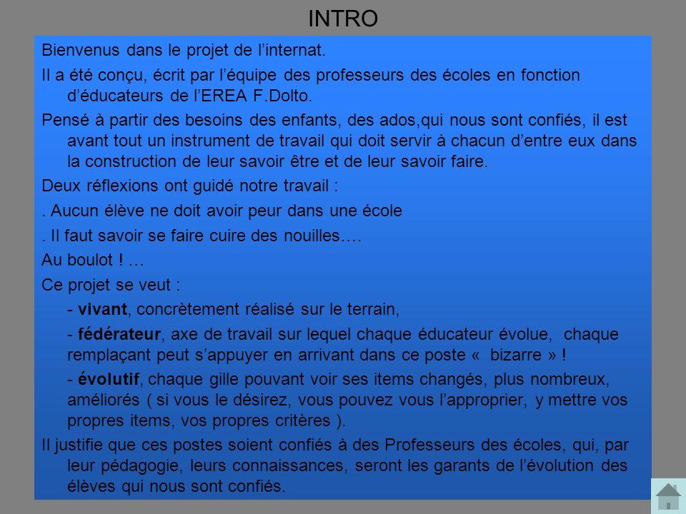 INTRO Bienvenus dans le projet de linternat. Il a été conçu, écrit par léquipe des professeurs des écoles en fonction déducateurs de lEREA F.Dolto. Pe