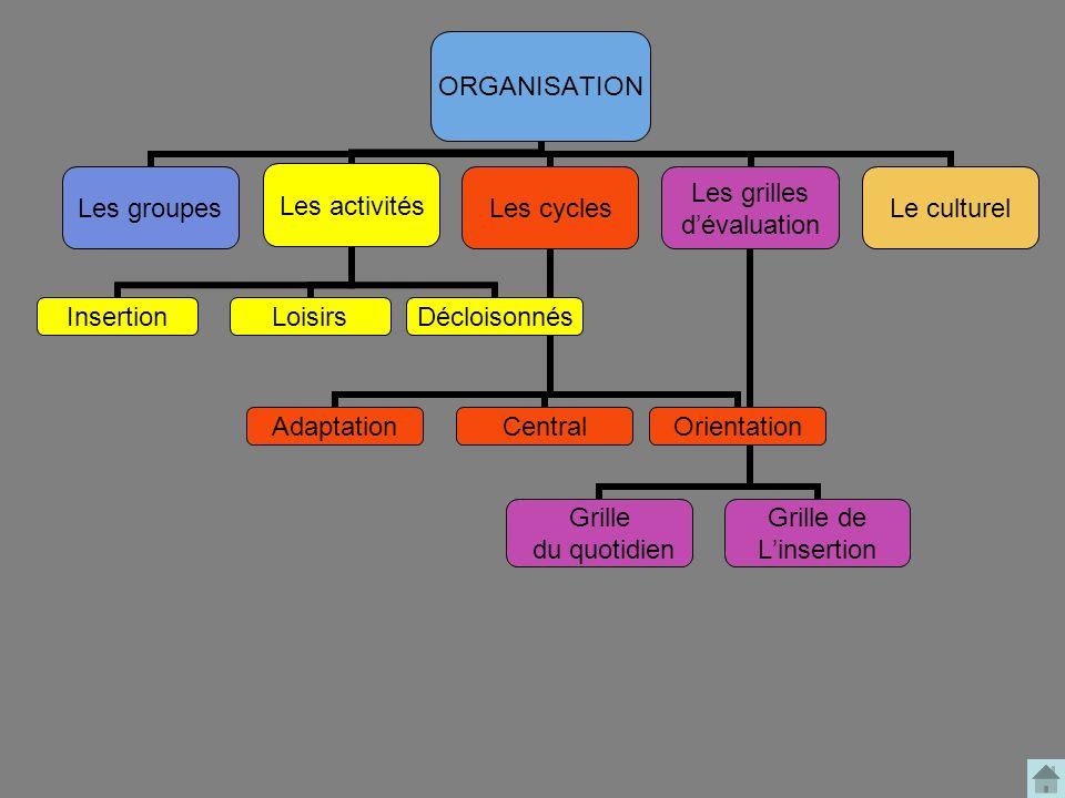 ORGANISATION Les groupesLes activités LoisirsInsertionDécloisonnés Les cycles AdaptationOrientationCentral Les grilles dévaluation Grille de Linsertio