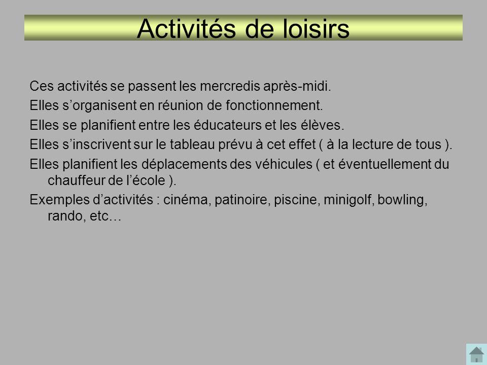 Activités décloisonnées Certaines activités peuvent être décloisonnées.