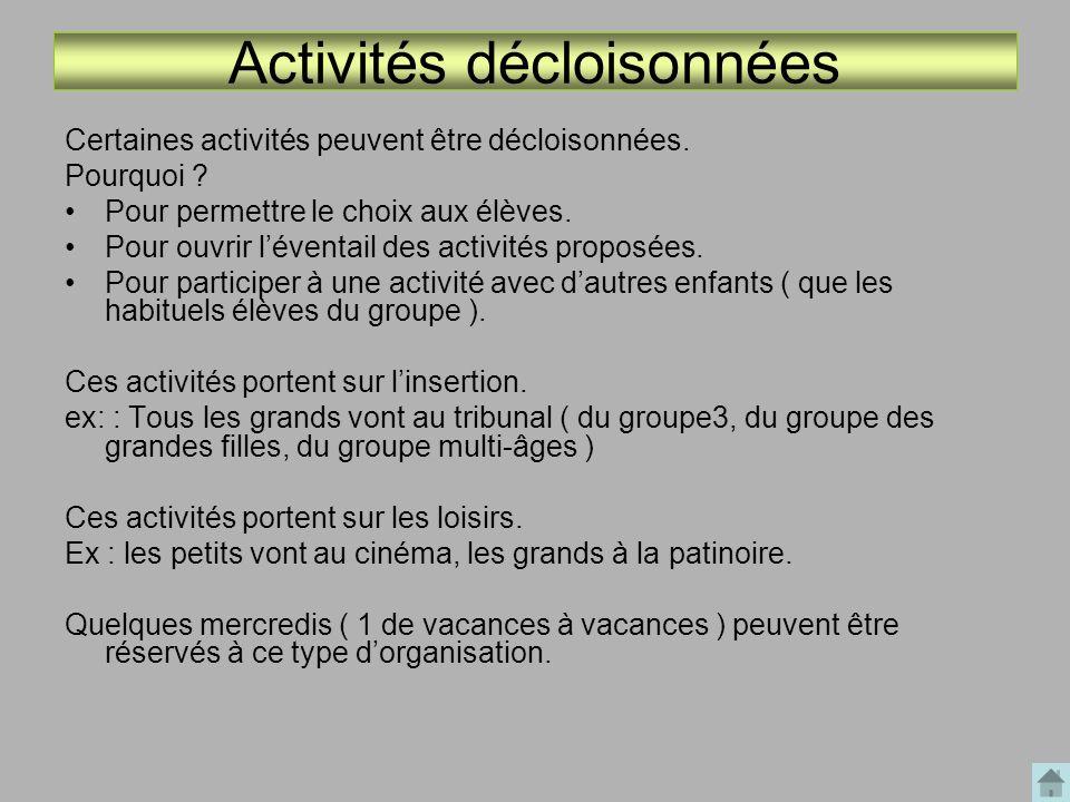 Activités décloisonnées Certaines activités peuvent être décloisonnées. Pourquoi ? Pour permettre le choix aux élèves. Pour ouvrir léventail des activ