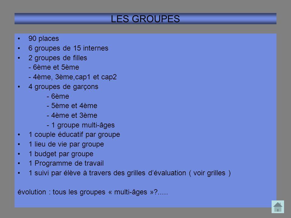 LES GROUPES 90 places 6 groupes de 15 internes 2 groupes de filles - 6ème et 5ème - 4ème, 3ème,cap1 et cap2 4 groupes de garçons - 6ème - 5ème et 4ème
