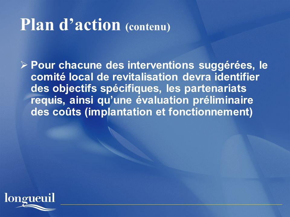 Plan daction (contenu) Pour chacune des interventions suggérées, le comité local de revitalisation devra identifier des objectifs spécifiques, les partenariats requis, ainsi quune évaluation préliminaire des coûts (implantation et fonctionnement)