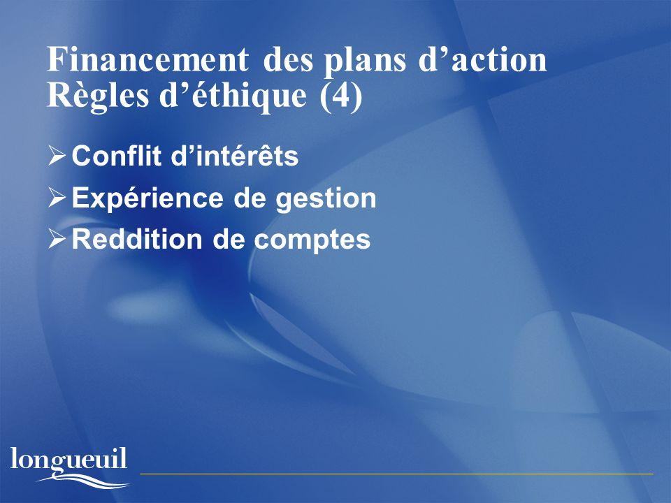 Financement des plans daction Règles déthique (4) Conflit dintérêts Expérience de gestion Reddition de comptes