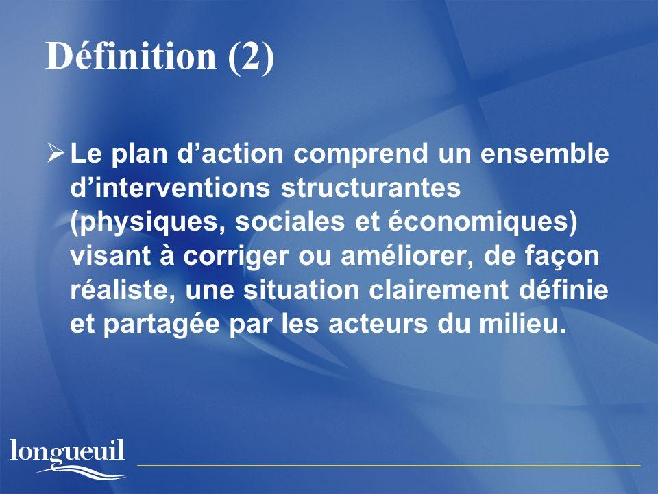 Définition (2) Le plan daction comprend un ensemble dinterventions structurantes (physiques, sociales et économiques) visant à corriger ou améliorer, de façon réaliste, une situation clairement définie et partagée par les acteurs du milieu.