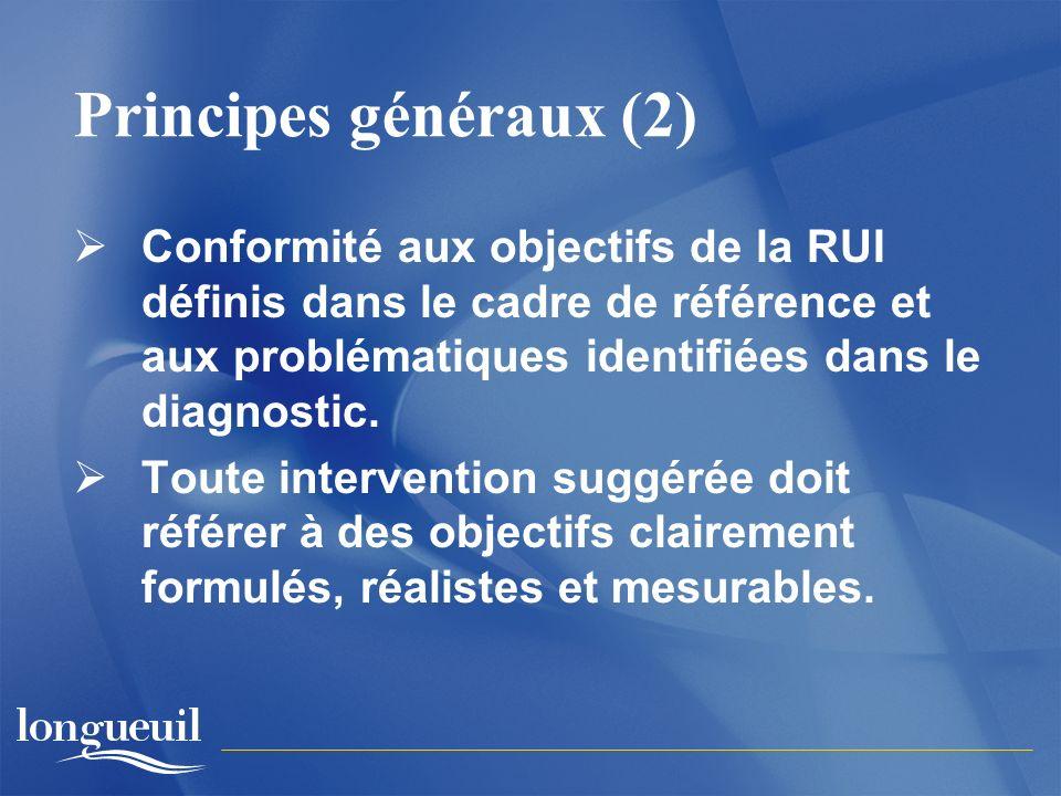 Principes généraux (2) Conformité aux objectifs de la RUI définis dans le cadre de référence et aux problématiques identifiées dans le diagnostic.
